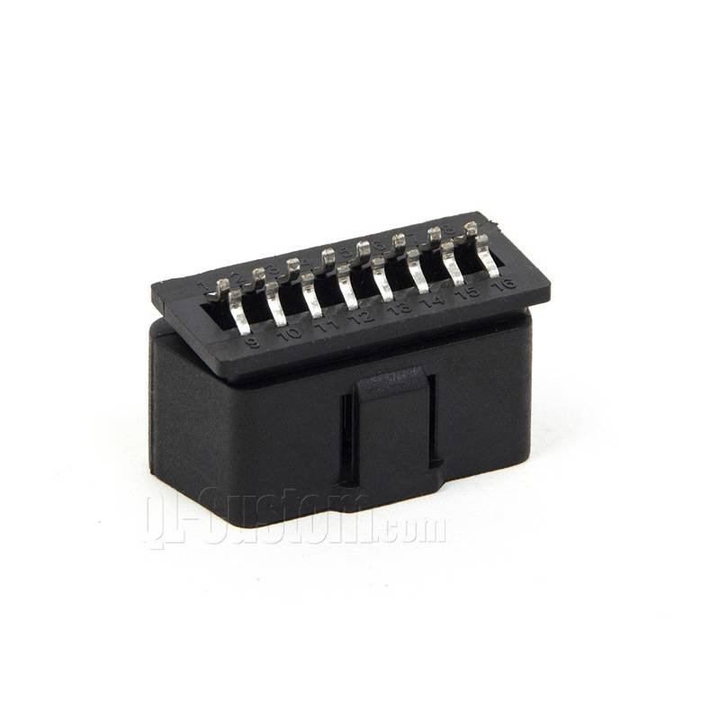 16pin OBD II conenctor with arc pins