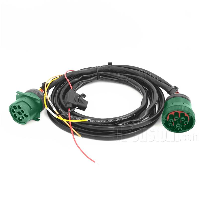 For Truck J1939 9pin Male connector to J1939 9in Female with Overmolding 3A Fuse holder inline