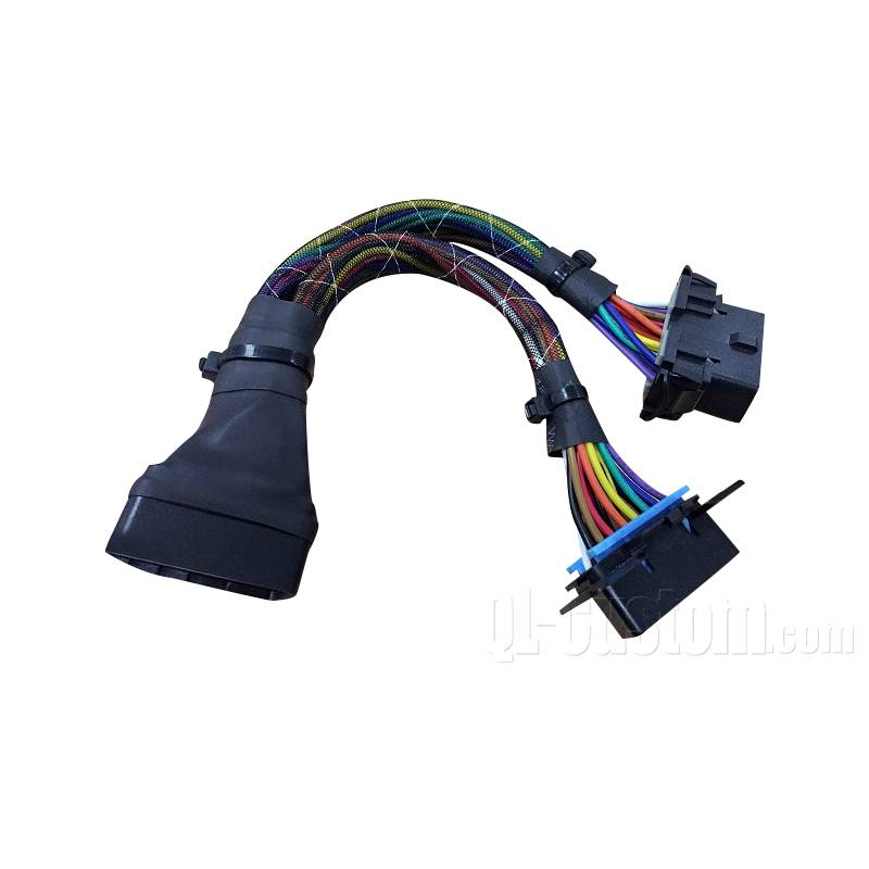 Installable OBDII J1962 16pin Male to double female cover by FG braided hose