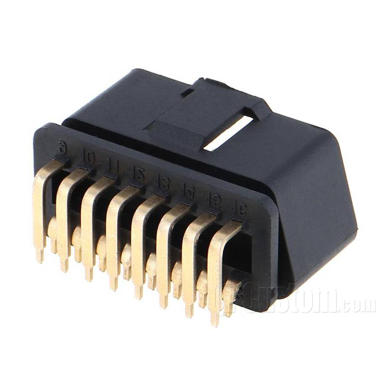 OBD II connector right angel golden pins