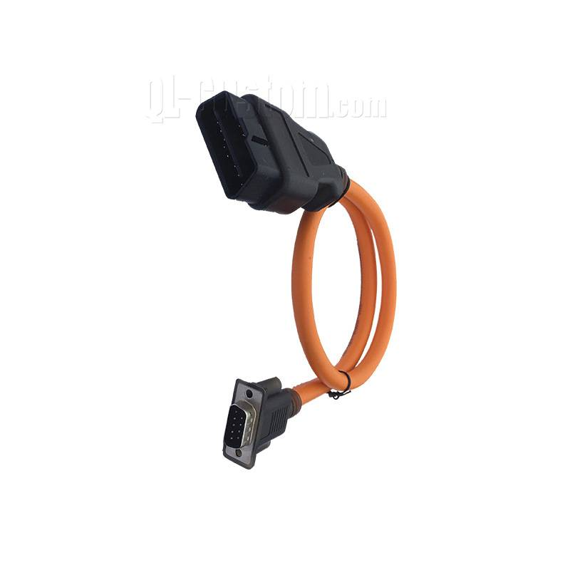 UL2464 20AWG cable OBD male to molding DB9 male with thumb screws